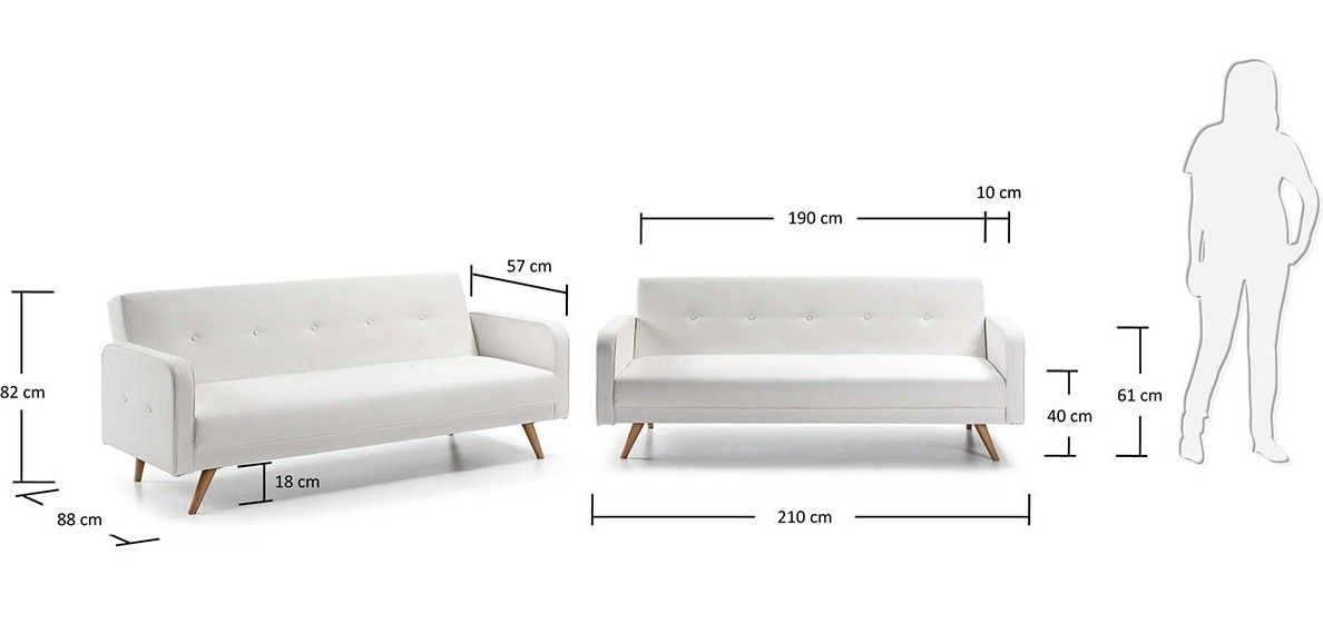 Divano 190 Cm.Sofa Bed With Wooden Feet Rodrigo Model 208x110x43 Faux Leather Or Microfibre White Black Red Grey