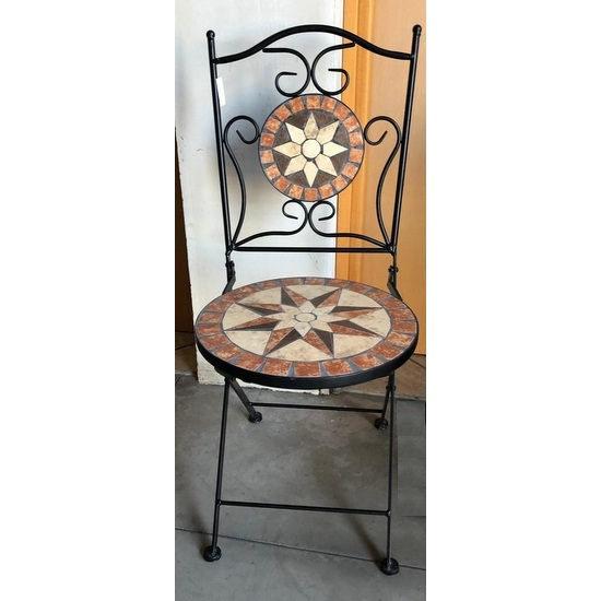 Outdoor Furniture Jody Model Mosaic Table And 2 Folding Wrought Iron Chairs For Garden
