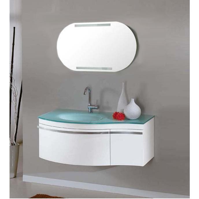 Meuble de salle de bain modèle Taunus 100 cm avec lavabo en verre vert