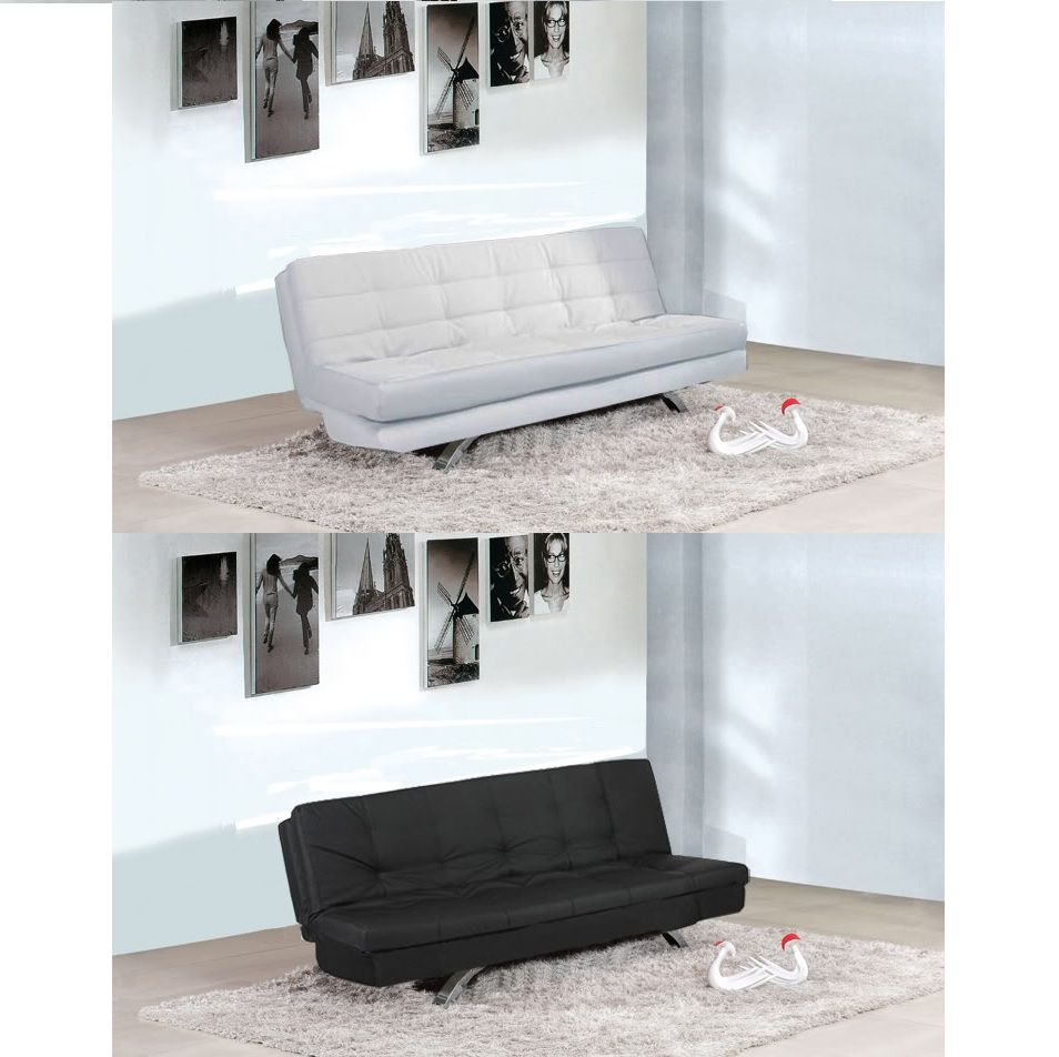 3-seater sofa bed, Eleonora model, 192x87 size, available in white or black  faux leather