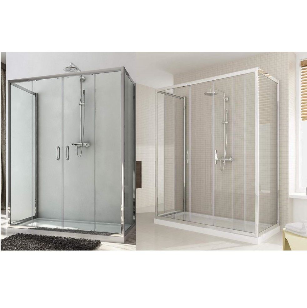 Porta Scorrevole 3 Ante.3 Sided Shower Enclosure Double Sliding Door 185 Or 198 Cm Height Transparent Or Opaque Glass Box058