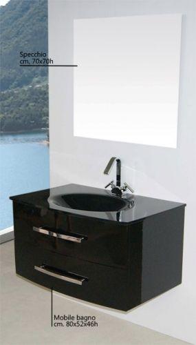 Meuble lavabo Brandy 80 en cristal taupe noir bz