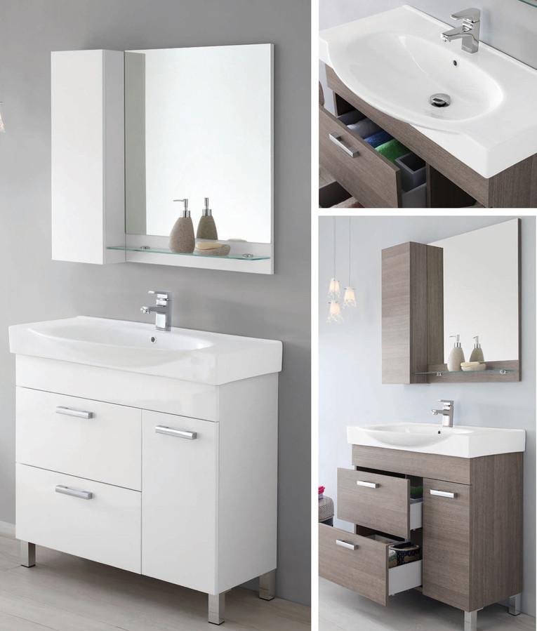 Specchio Con Mobiletto Per Bagno.90cm Bathroom Vanity With Ceramic Washbasin Mirror Shelf And