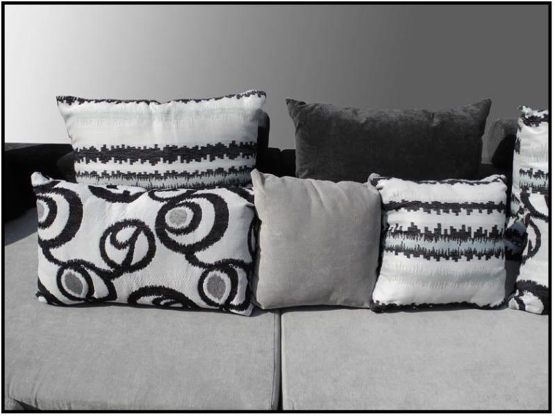 Cuscini Divano Bianco E Nero.Corner Sofa For Living Room 340 Cm Black And White Amelia Model