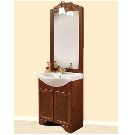 Arte Povera bathroom vanity, Portofino model, cm 75 or 65, solid walnut wood