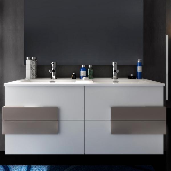 Meuble de salle de bain Energy de 120 cm en blanc, chêne clair ou chêne  foncé avec insertions blancs, lavabo double et miroir