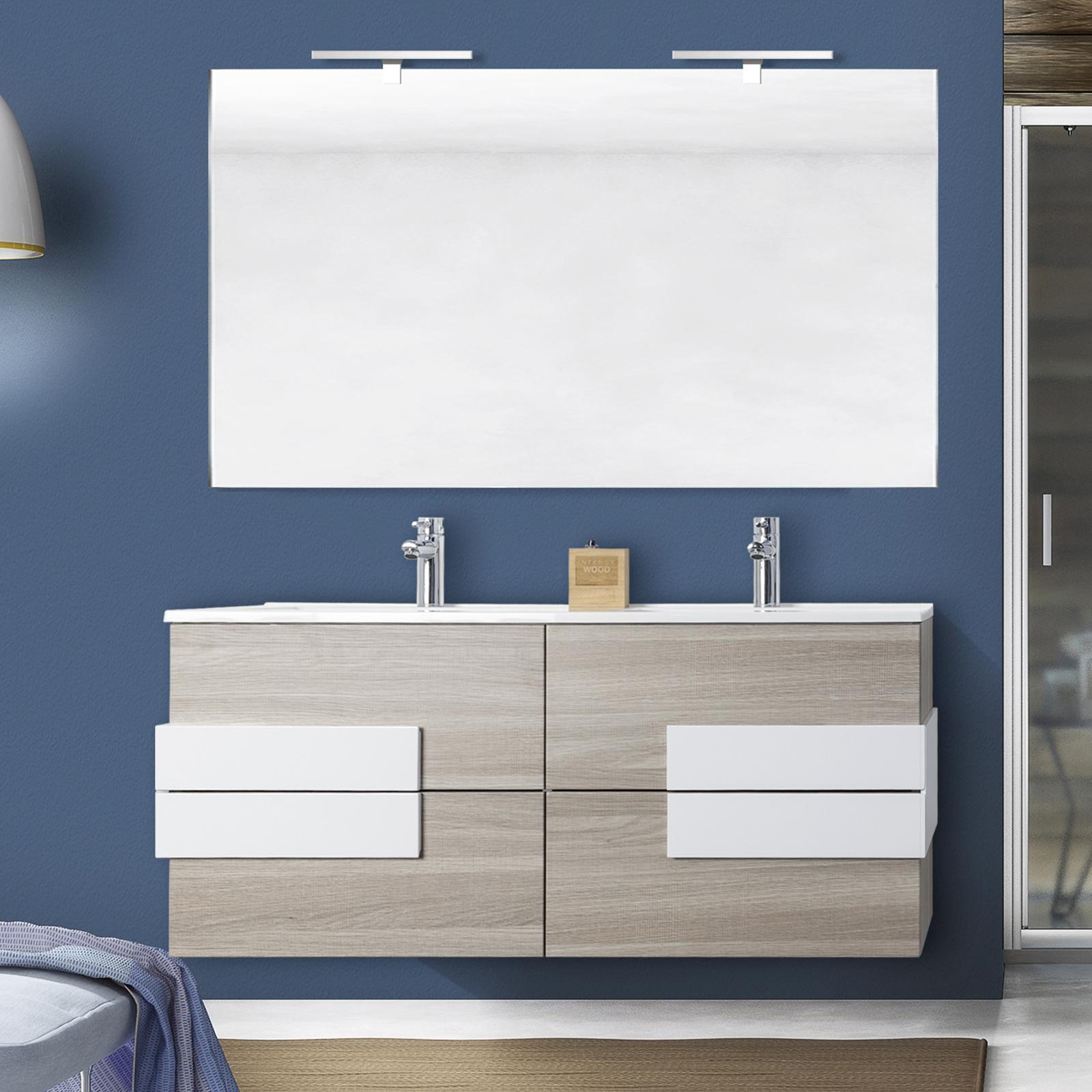 Miroir Salle De Bain 120 Cm meuble de salle de bain energy de 120 cm en blanc, chêne clair ou chêne  foncé avec insertions blancs, lavabo double et miroir