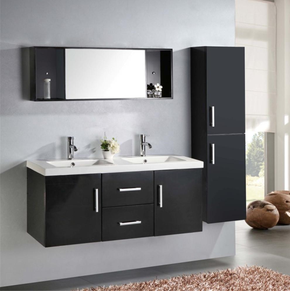 Meuble de salle de bain Taiti, lavabo double en céramique blanche ou noire,  120 cm, 1 colonne et mitigeurs inclus dans le prix .