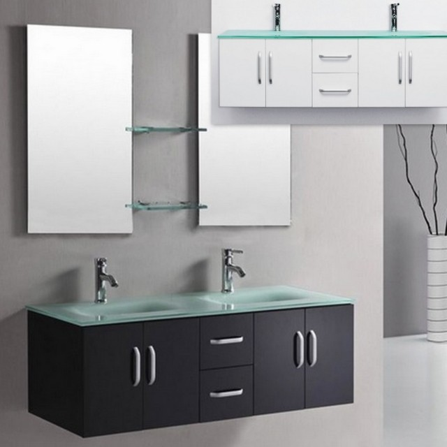 Muebles Bano Lavabo Cristal.Mueble De Bano Galaxy En 150 Blanco O Negro Brillante Con Doble Lavabo En Cristal Verde
