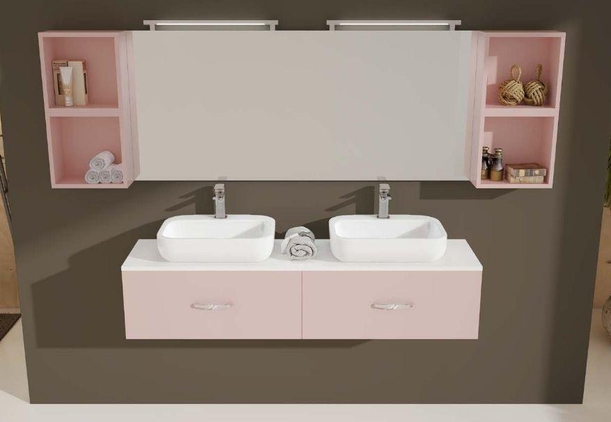 Meuble de salle de bain ICE 160x40 cm lavabo double avec 2 ou 4 tiroirs en  30 couleurs