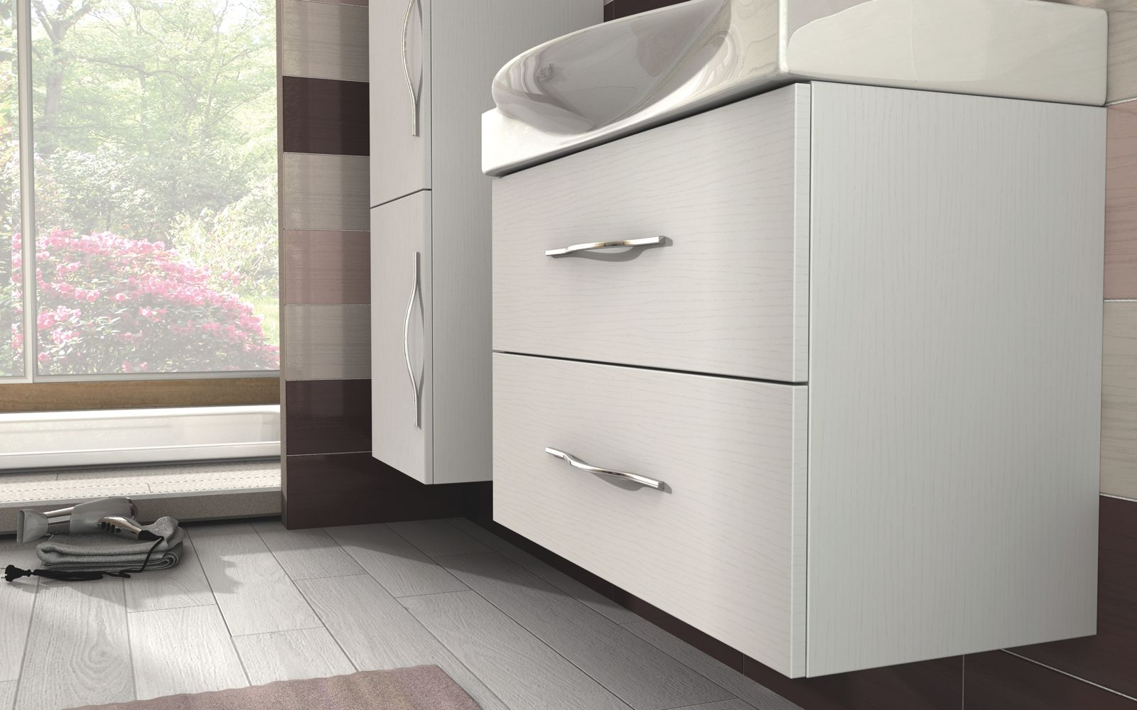 Mobile Bagno New York bathroom vanity 84 + 45 cm, available in 4 colours (also white), news model