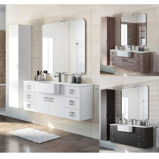 Meuble de salle de bain Florens 130 + 30 disponible en blanc, mélèze ou  gris foncé