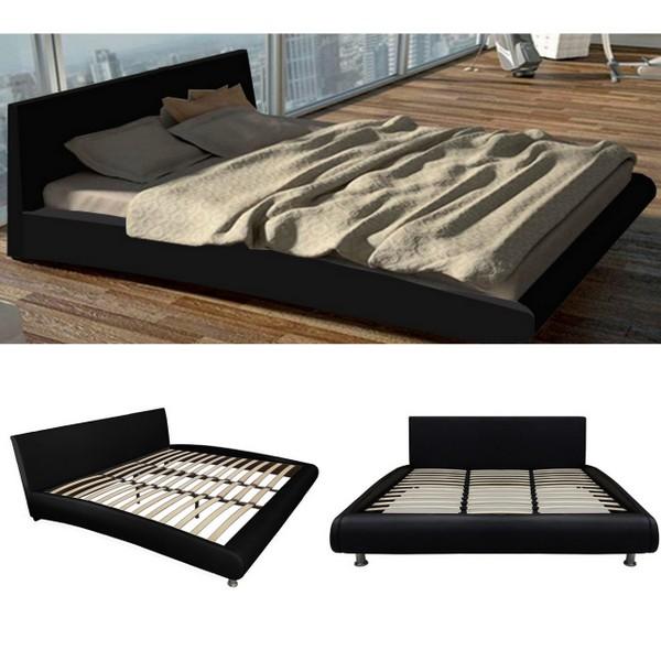Letto Futon Matrimoniale.Black Double Bed Modern Style Tulip Model 224x172 Steel Feet