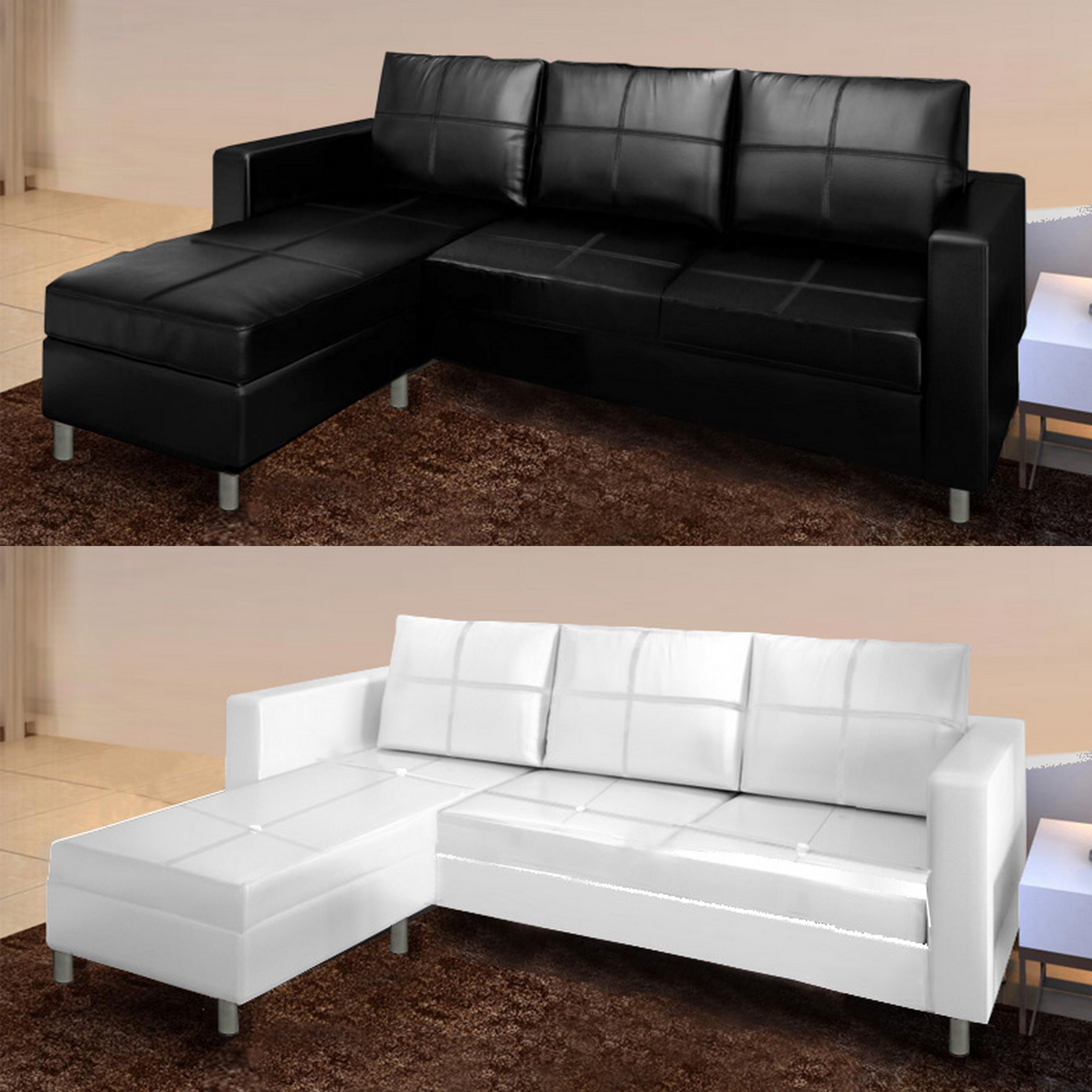 Corner sofa for living room, with ottoman/pouf, 205 cm, black/white faux  leather, 3 seater, living room, Romantic model