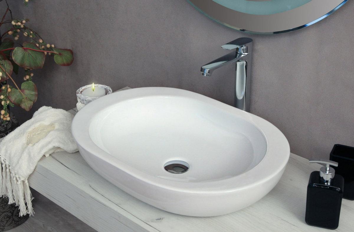 Countertop Washbasin White Ceramic Round Or Rectangular Or Oval Lav02