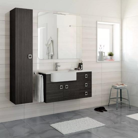 Meuble de salle de bain Florens 100 + 30 en blanc, mélèze ou gris foncé