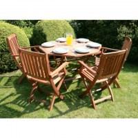Meubles d\'extérieur Jessica table en bois 4 chaises pliantes avec  accoudoirs pour jardin.