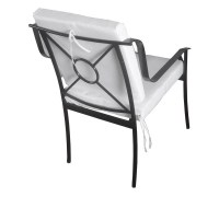 Garden Furniture Tommy Model Composed Of 1 Table 6 Iron Chairs With Armrests And White Cushions