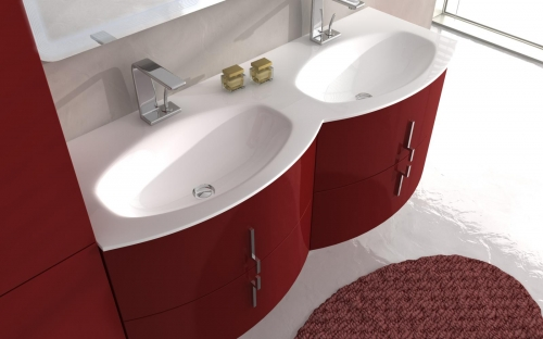 Modern Rounded Bathroom Vanity 69 Cm