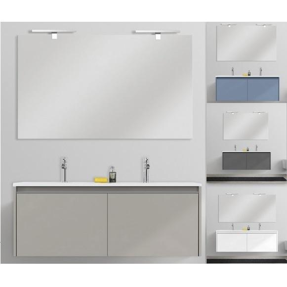 Meuble de salle de bain suspendu moderne Yang 120 cm en 4 couleurs avec  lavabo double en marbre minéral, bois MDF