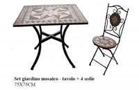 Meubles de jardin Jody Table ronde ou carrée avec mosaïque 2 chaises  pliantes en fer forgé