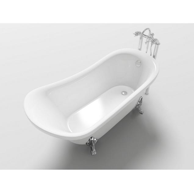 Ovale freistehende Badewanne 160x72x75 im klassischen Stil mit verchromten  VS053-Füßen