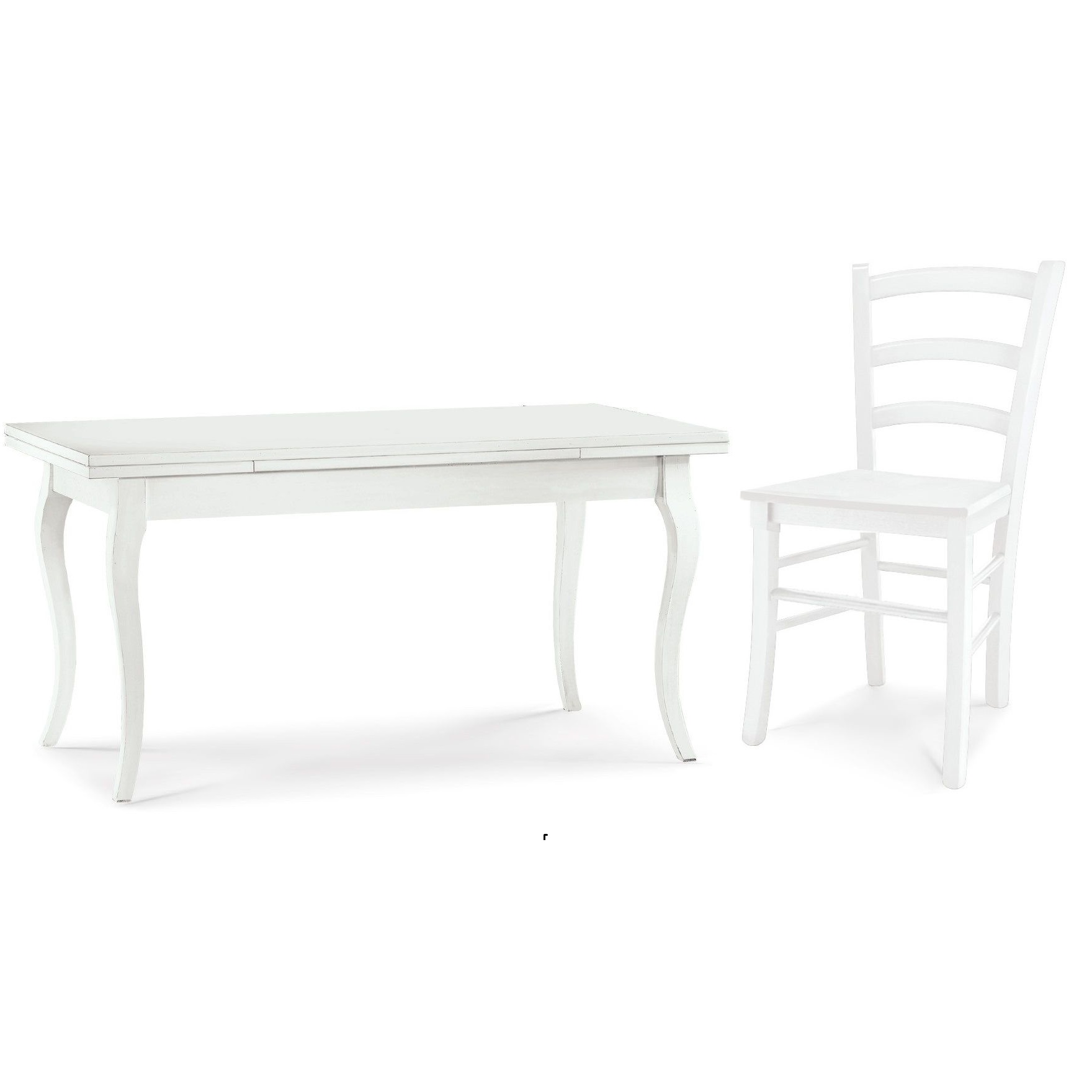 Tavolo Classico Con Sedie arte povera extendable table, cindy model, white colour table, also  available with chairs