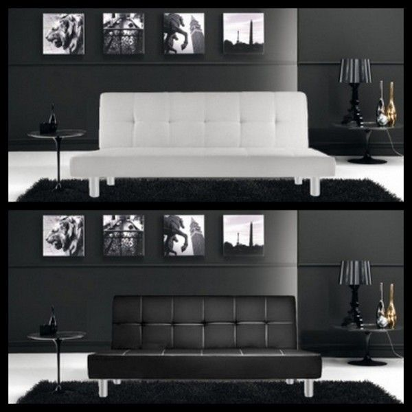 Sofa Bed With Anti Tipping System Claudia Model 180cm White Or Black Faux Leather