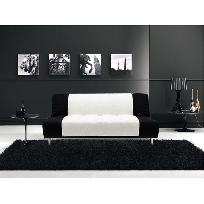 Reclining sofa bed, Susy model, 175x103x38, two-color black and white,  3-seater, anti-tipping mechanism