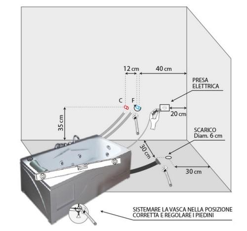 Posizione Rubinetto Vasca Da Bagno.Rectangular Hydromassage Bathtub 170x85 7 Jets Taps Included With Chromotherapy Vs084