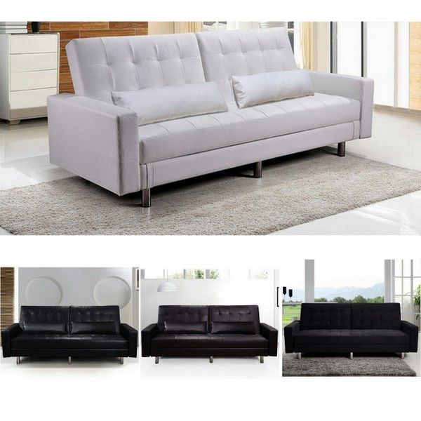 Sofa bed with storage compartment, in faux leather or microfibre, with  matching cushions