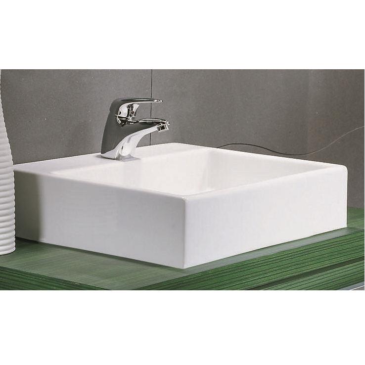 Lavabo à poser carré pour meuble de salle de bain moderne, modèle Simona