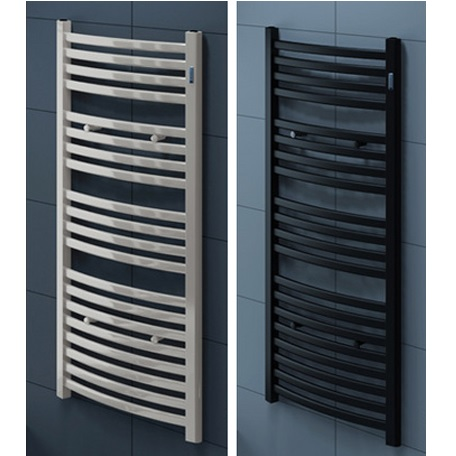 Steel heated towel rail, curved design, white or black