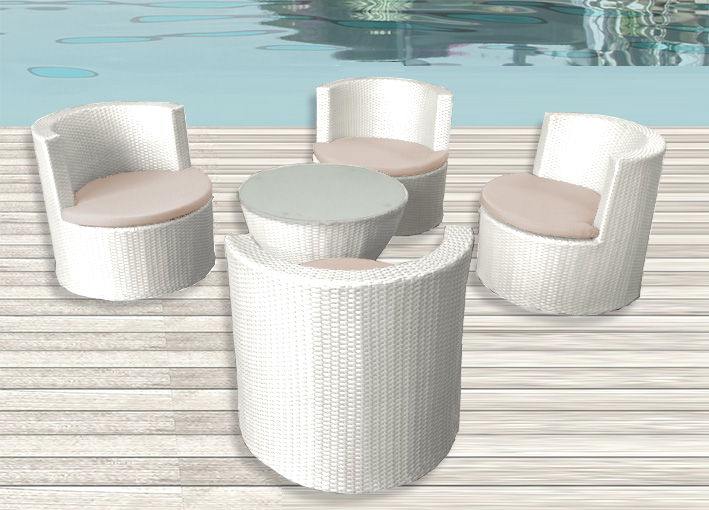 Set Giardino Rattan Bianco.Modern Furnishing Kim Model Dark Brown Or White 4 Armchairs And Crystal Table