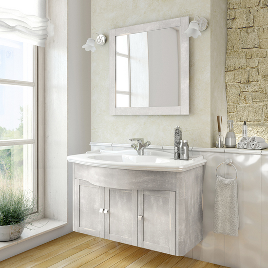 Decapè Badmöbel Tiffany grau 114x62,5 cm aufgehängte Möbel mit Spiegel und  zwei Wandleuchten inklusive