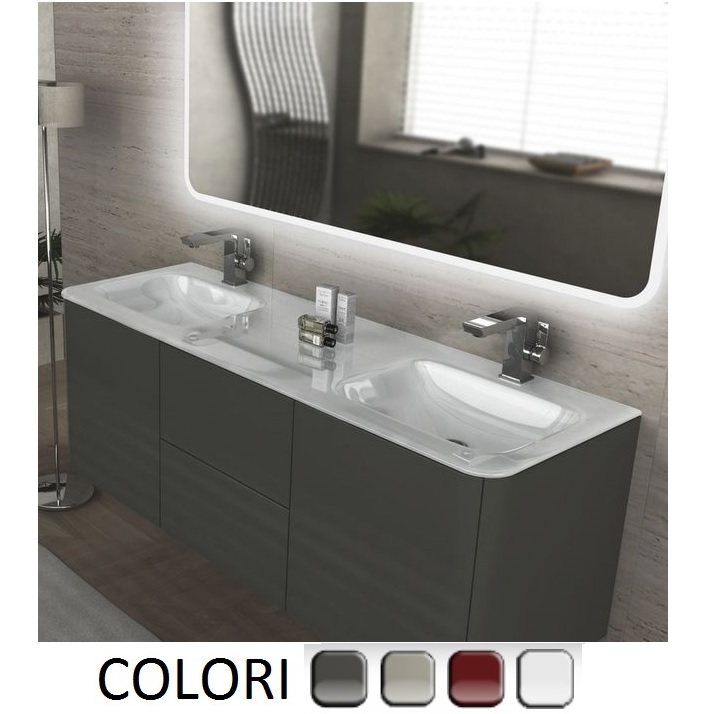Meuble de salle de bain suspendu Live 140 cm , lavabo double, disponible en  plusieurs couleurs