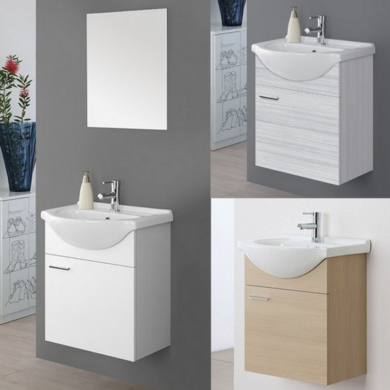 Wall Hung Bathroom Cabinet 56 Cm Lacquered White Or Light Oak With Mirror Icaro Model
