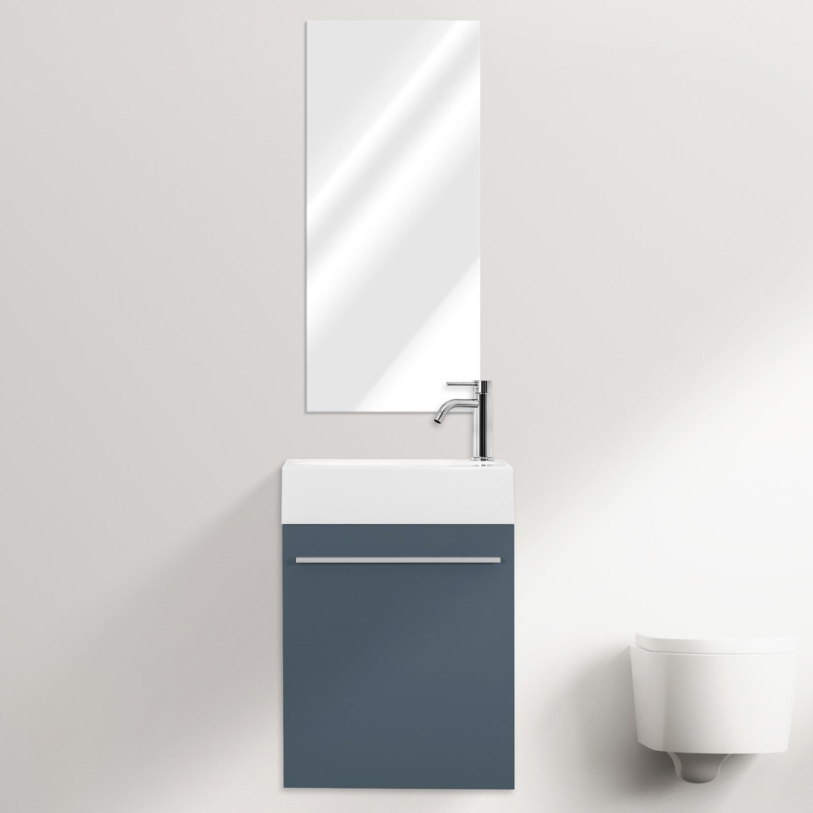 Gain De Place Meuble meuble mural de salle de bain karma 46 cm gain de place avec miroir blanc  gris bleu sauge