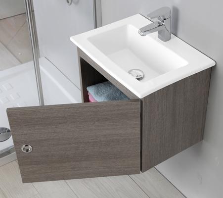 Mobile Bagno 50 Cm.Bathroom Vanity Cm 50 Lacquered White With Ceramic Washbasin