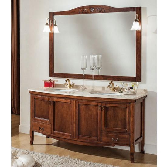Zeta2 Badschrank in schlichter Kunst, 160cm, mit Doppelwaschbecken, Spiegel  und Wandleuchte