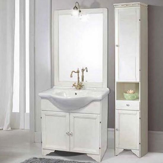 Meuble de salle de bain Lory 85 decapé vieilli blanc