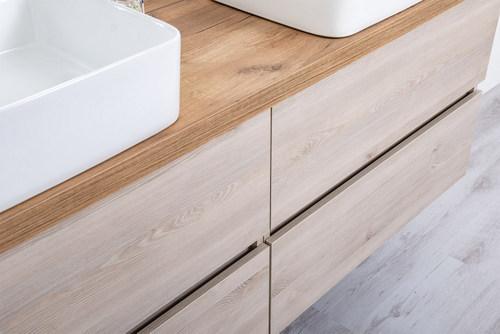 Double Sink Bathroom Cabinet Light Oak