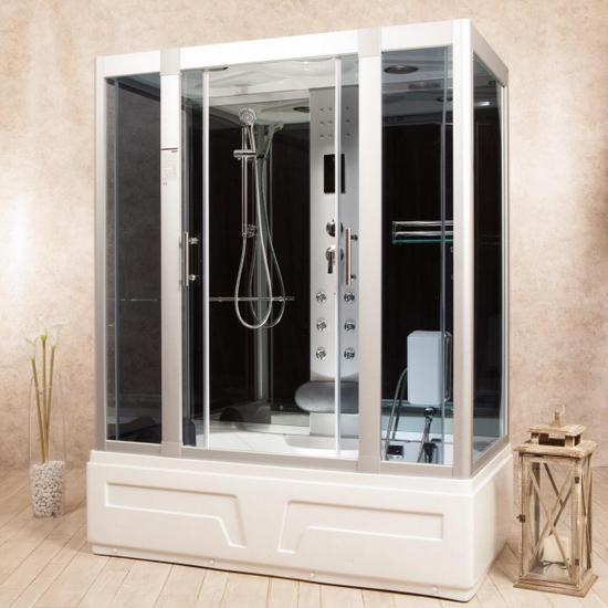 Box Doccia Eklis.Hydromassage Shower Cabin 150x90 Or 160x85 Multifunctional Also With Sauna Cb066