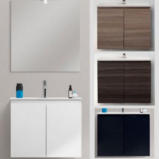 Wall Hung Ultra Slim Bathroom Vanity Made Of Mdf 60x36cm Modern Design Ceramic Washbasin Available In 4colours Fire Model