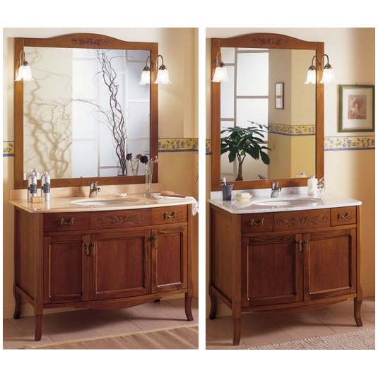Arte Povera bathroom vanity, 90 or 116 cm, undercounter, with mirror and  wall light, Zeta model