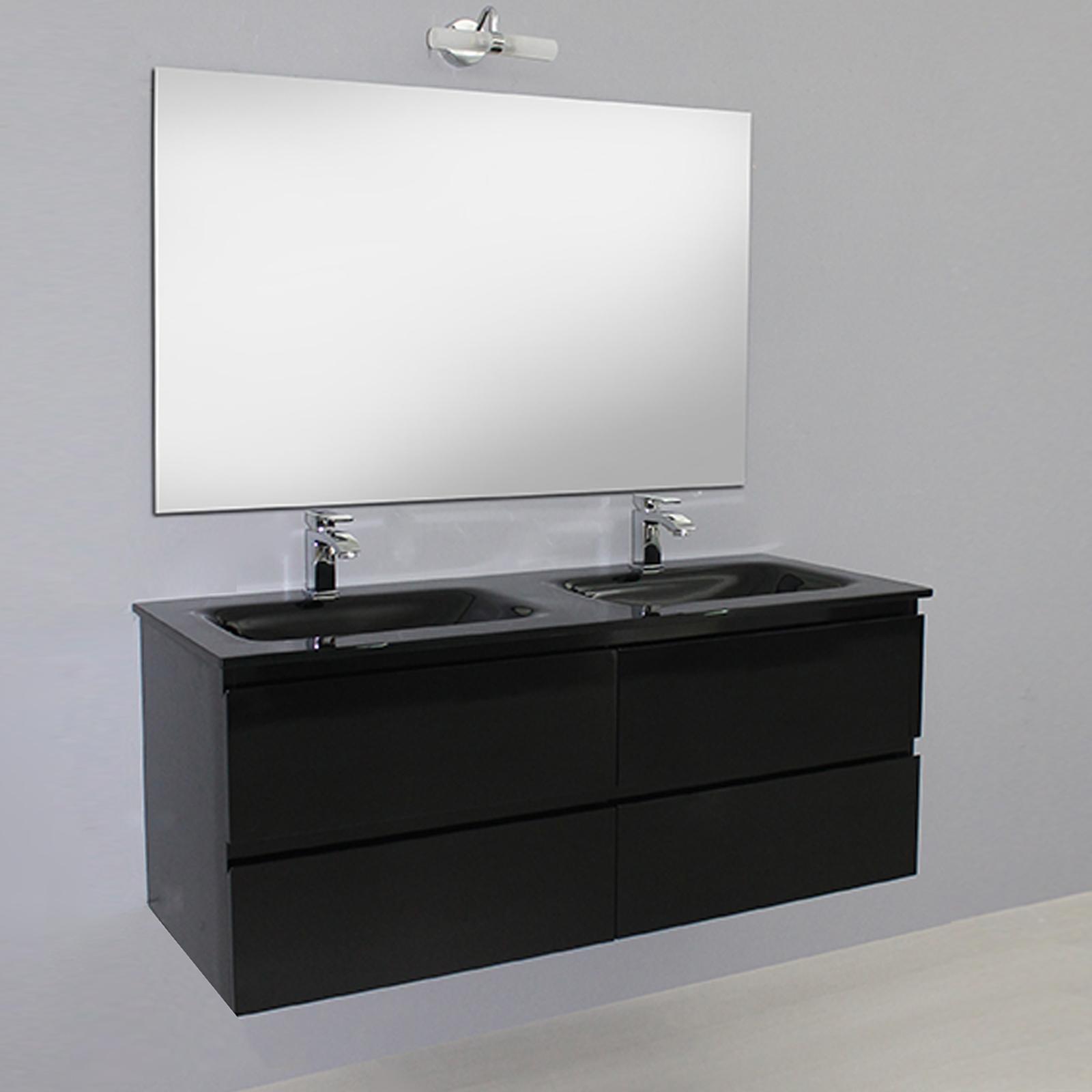 Meuble de salle de bain noir double vier 120 cm en - Double evier salle de bain ...