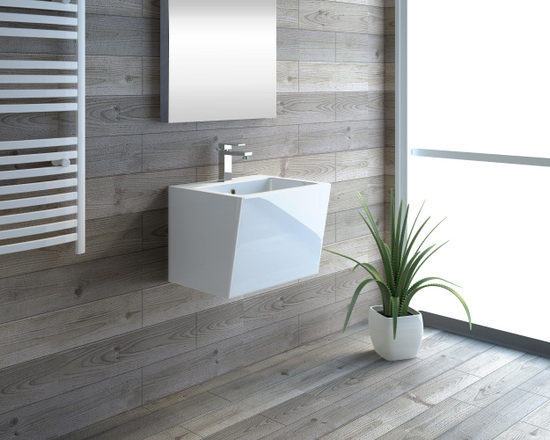 Wall-hung or countertop washbasin white ceramic Glass Model