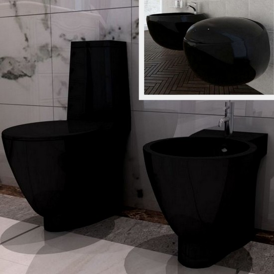 Wall-hung or floor-mounted wc and bidet with soft closing toilet cover  Black model
